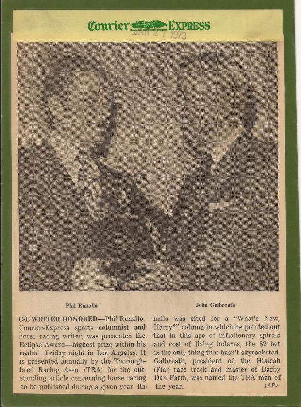 1972 ECLIPSE AWARD PRESENTED TO PHIL RANALLO IN LOS ANGELES CALIFORNIA.jpg