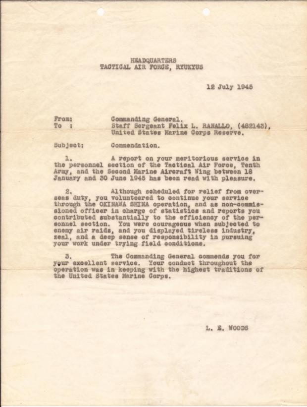 PHIL RANALLO LETTER FROM COMMANDER L E WOODS WORLD WAR 2 MARINE.jpg