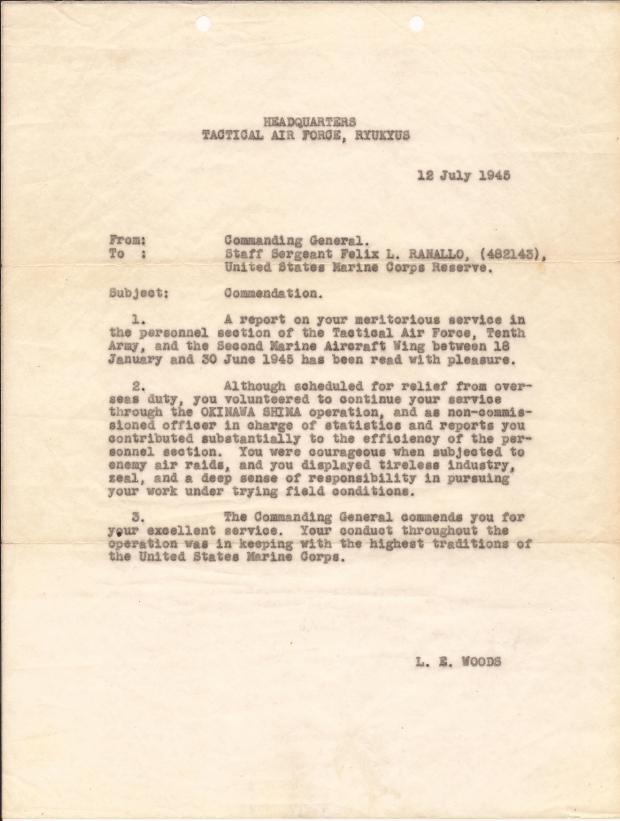 PHIL RANALLO LETTER FROM COMMANDER L E WOODS WORLD WAR 2 MARINE.jpg