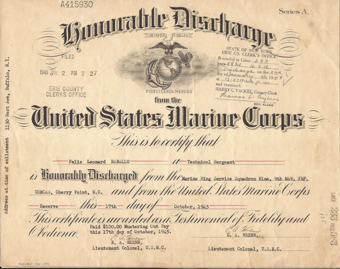 UNITED STATES MARINE CORP HONORABLE DISCHARGE CERTIFICATE WWII.jpg