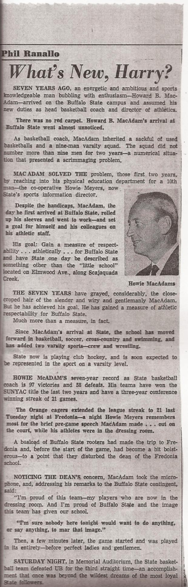 HOWIE MACADAMS BUFF STATE BASKETBALL SCAN A
