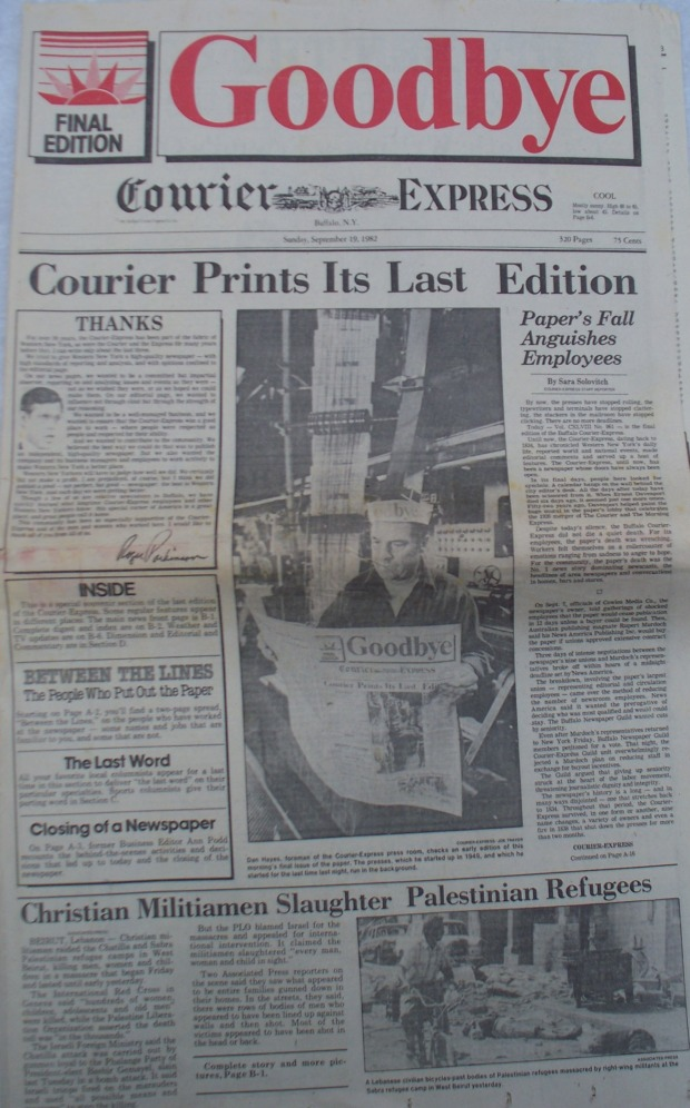 COURIER EXPRESS FRONT PAGE LAST EDITION