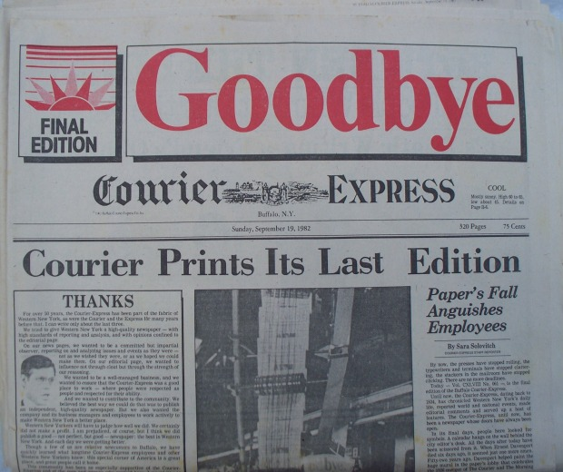COURIER EXPRESS LAST EDITION FRONT HALF PAGE